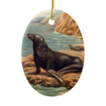 Vintage Sea Lion by the Seashore, Marine Mammals Ceramic Ornament