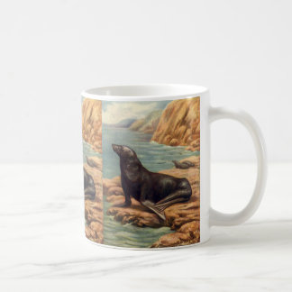 Vintage Sea Lion by the Seashore, Marine Mammals Coffee Mug