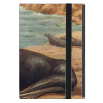 Vintage Sea Lion by the Seashore, Marine Mammals iPad Mini Cover