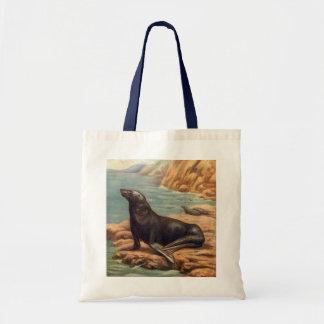 Vintage Sea Lion by the Seashore, Marine Mammals Tote Bag