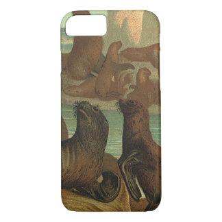 Vintage Sea Lions on the Beach, Marine Life Animal iPhone 7 Case