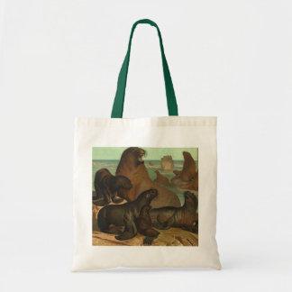Vintage Sea Lions on the Beach, Marine Life Animal Tote Bag