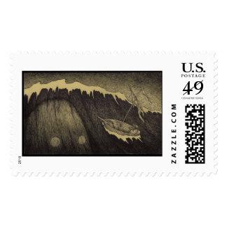 Vintage Sea Monster Drawing Stamp