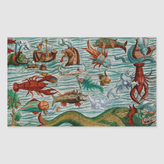 Vintage Sea Monsters Rectangular Sticker