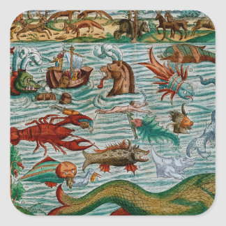 Vintage Sea Monsters Square Sticker