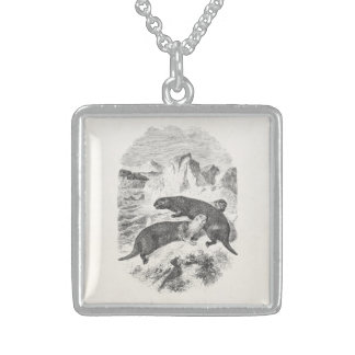 Vintage Sea Otters 1800s Otter Illustration Sterling Silver Necklace