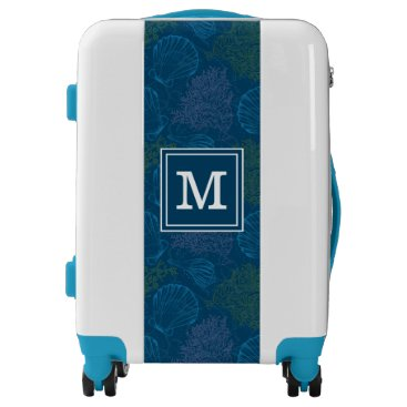 Beach Themed Vintage Sea Pattern | Add Your Initial Luggage