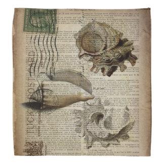vintage sea shells elegant beach art kerchiefs