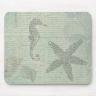 Vintage Sea Shells, Starfish, and SeaHorse Mouse Pad