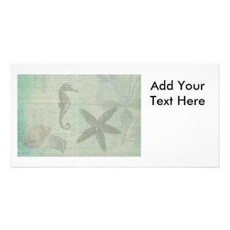 Vintage Sea Shells, Starfish, and SeaHorse Photo Greeting Card
