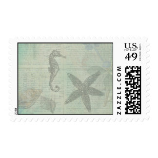 Vintage Sea Shells, Starfish, and SeaHorse Postage Stamp