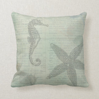 Vintage Sea Shells, Starfish, and SeaHorse Throw Pillow