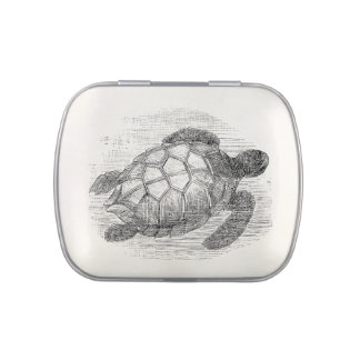 Vintage Sea Turtle Personalized Marine Turtles Candy Tin