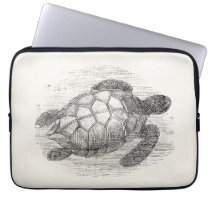 Vintage Sea Turtle Personalized Marine Turtles Laptop Sleeve