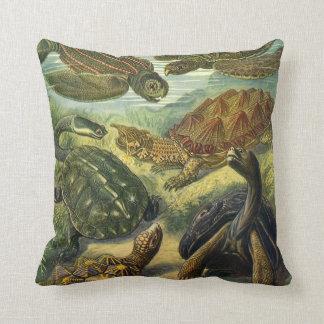 Vintage Sea Turtles and Tortoises by Ernst Haeckel Throw Pillow