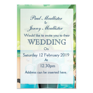 Vintage seafoam green car wedding Invite