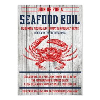 Vintage Seafood Boil Party Invitations