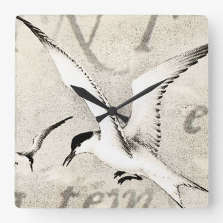 Vintage Seagull Collage Customized Retro Seagulls Square Wall Clock