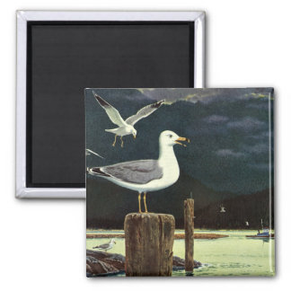 Vintage Seagull Perched Pier, Marine Birds Animals 2 Inch Square Magnet