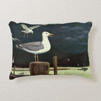 Vintage Seagull Perched Pier, Marine Birds Animals Accent Pillow
