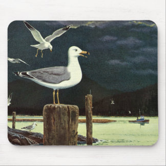 Vintage Seagull Perched Pier, Marine Birds Animals Mouse Pad