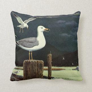 Vintage Seagull Perched Pier, Marine Birds Animals Throw Pillow