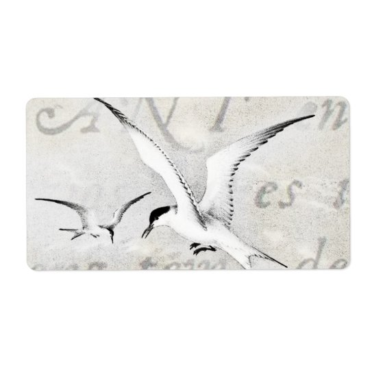 Vintage Seagulls Customized Retro Seagull Template Label