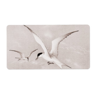 Vintage Seagulls Customized Retro Seagull Template Shipping Label