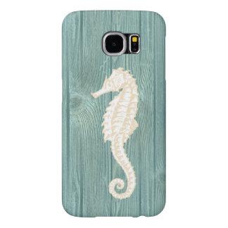 Vintage Seahorse Aqua Wood Beach Phone Case