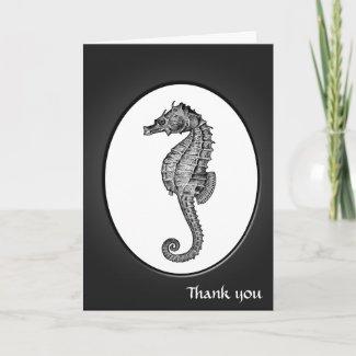 Vintage Seahorse art Greeting Cards