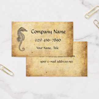 Vintage Seahorse Illustration Aged Paper Business Card