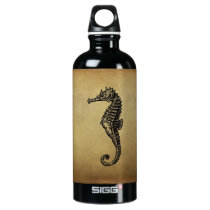 Vintage Seahorse Illustration Aluminum Water Bottle