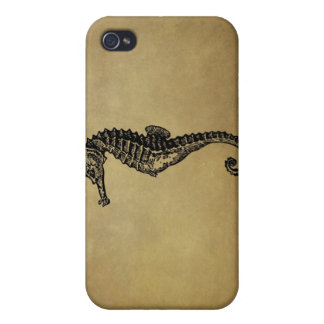 Vintage Seahorse Illustration Cases For iPhone 4