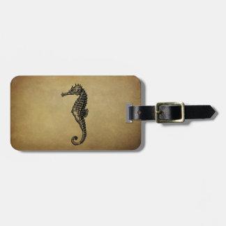 Vintage Seahorse Illustration Luggage Tag