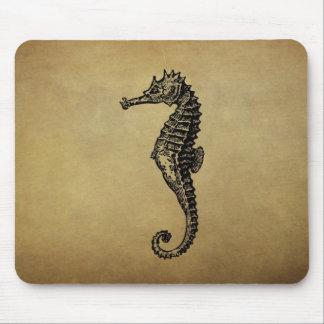 Vintage Seahorse Illustration Mouse Pads