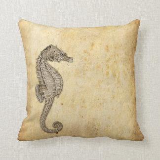 Vintage Seahorse Illustration Throw Pillow