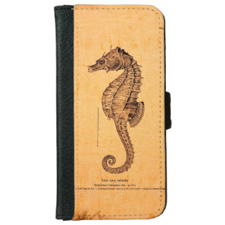 Vintage Seahorse Illustration Wallet Phone Case For iPhone 6/6s