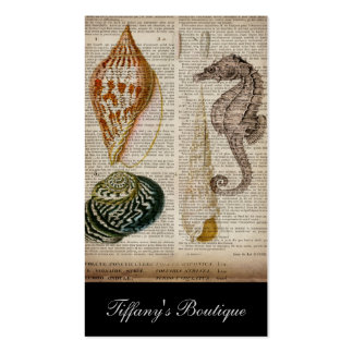 vintage seahorse sea shells beach business card