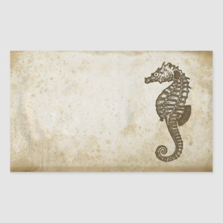 Vintage Seahorse Rectangle Stickers