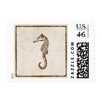 Vintage Seahorse Wedding Postage stamp