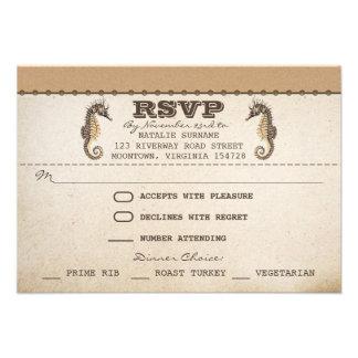 vintage seahorses unique wedding rsvp tickets announcements