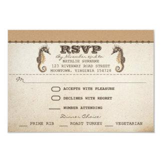 vintage seahorses unique wedding rsvp tickets 3.5x5 paper invitation card