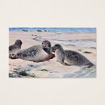Beach Themed Vintage Seals on the Beach Art Business Card