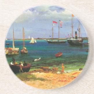 Vintage Seascape, Nassau Harbor by Bierstadt Drink Coaster