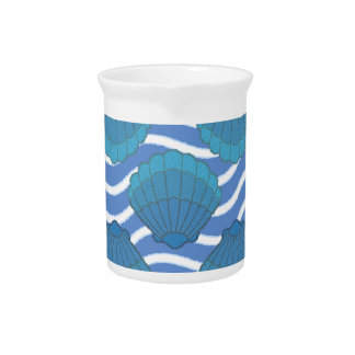 Vintage Seashell And Waves Pattern Beverage Pitcher