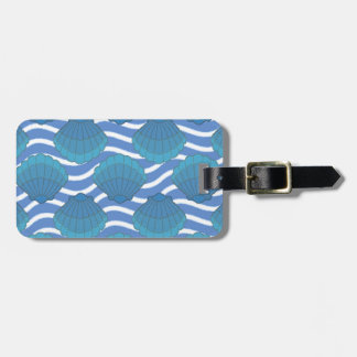 Vintage Seashell And Waves Pattern Luggage Tag