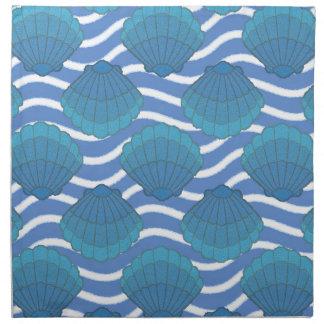 Vintage Seashell And Waves Pattern Napkin