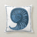 Vintage Seashell Blue No. 3 Pillow Pillows