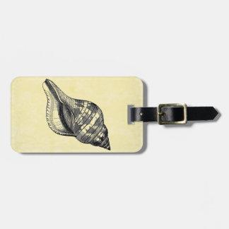Vintage Seashell on Cream Luggage Tag
