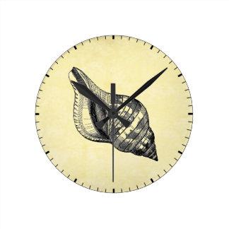Vintage Seashell on Cream Round Clock